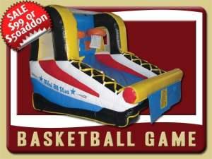 Inflatable Basketball Game Rental, Blue, Black, Yellow, Red, Orange