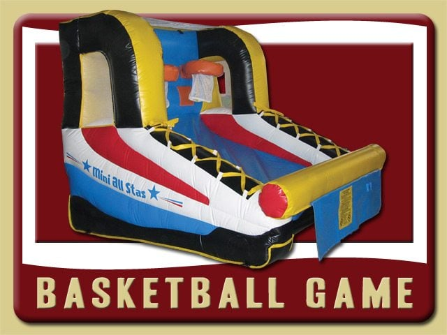 Basketball Inflatable Moonwalk Bounce House Rental Deltona yellow red black blue