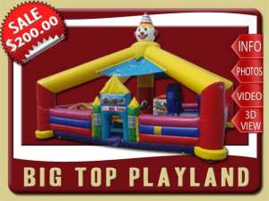 Big Top Inflatable Playland, Toddler, Ball Pit, Circus, Clown, Slide, Bounce House