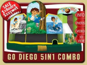 Go Diego 5in1 Bounce House Water Slide Inflatable Combo, Baby Jaguar, Rescue Pack, Bobo Brothers, Alicia