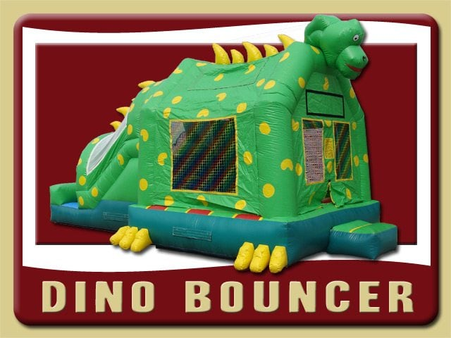 Dino Inflatable Combo Slide Bounce House Rental Deltona Green