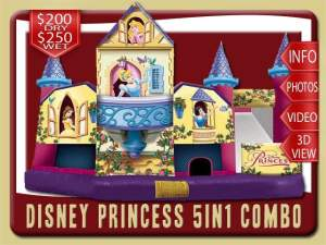 Disney Princess 5in1 Water Slide Bounce House Combo, Belle, Snow White, Cinderella, Sleeping Beauty