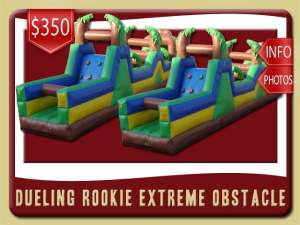 dueling rookie obstacle course inflatable rental deland price brown green blue yellow
