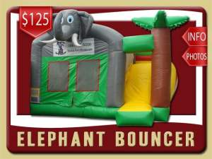 Elephant Bounce House Slide inflatable Combo, Palm Tree
