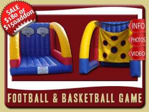 Football Basketball Inflatable Game Party Rental, blue, yellow, red