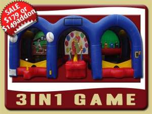 Inflatable 3in1 Game Rental, Baseball, Hot Potato, shooting gallery, Red, Blue, Yellow