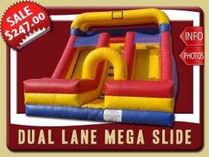 Dual Lane Mega Slide Rental, Inflatable, Dry, Two, Blue, Red, Yellow