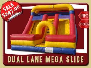 Dual Lane Mega Slide Rental, Inflatable, Dry, Two, Blue, Red, Yellow
