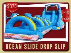 Ocean Water Slip Slide rental, Inflatable, Fish, Colal, Sea, Mermaid, Dolphin, Blue, Ranbow