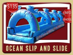 Ocean Slip and Slide rental, Inflatable, Fish, Colal, Sea, Mermaid, Dolphins, Blue, Ranbows