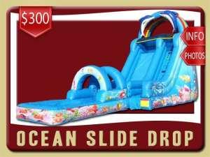 Ocean Drop Water Slide Rental, Inflatable, Fish, Colal, Sea, Mermaid, Dolphin, Blue, Ranbow, Pool