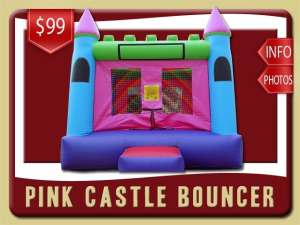 Girl Castle Bounce House Rental, Pink, Purple, Blue, Green