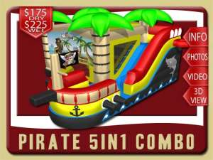 Pirate Ship 5in1 Inflatable Water Slide Bounce House Combo, Red, Black, Yellow