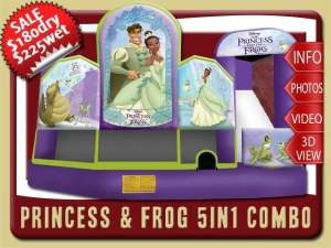 Princess & Frog 5in1 Bounce House Water Slide Inflatable Combo, Tiana, Prince Naveen