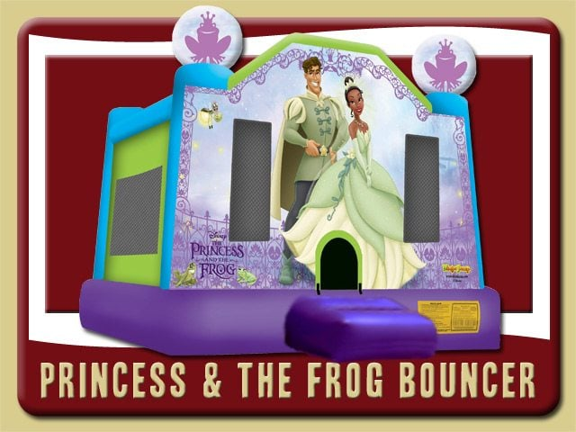 Princess and the Frog Bounce House Rental Ormond Beach Tiana Prince Naveen purple blue green