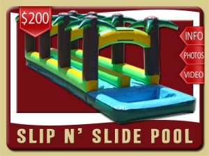 Slip and Slide Pool Rental, Inflatable, Palm Trees, Green, Yellow Brown, Blue