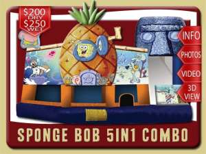 Sponge Bob 5in1 Bounce House Water Slide Combo, Patrick, Sandy, pineapple house, Square Pants