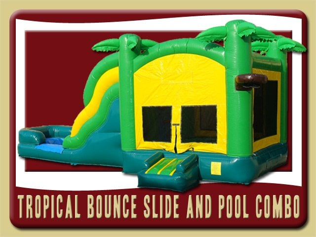 Tropical Combo 1 Bounce House Water Slide Rental Edgewater yellow green blue