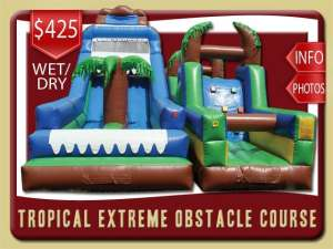 Tropical Extreme Inflatabe Obstacle Course Water Slide Rental, Rock Wall, Palm Tree, Blue, Green, Brown