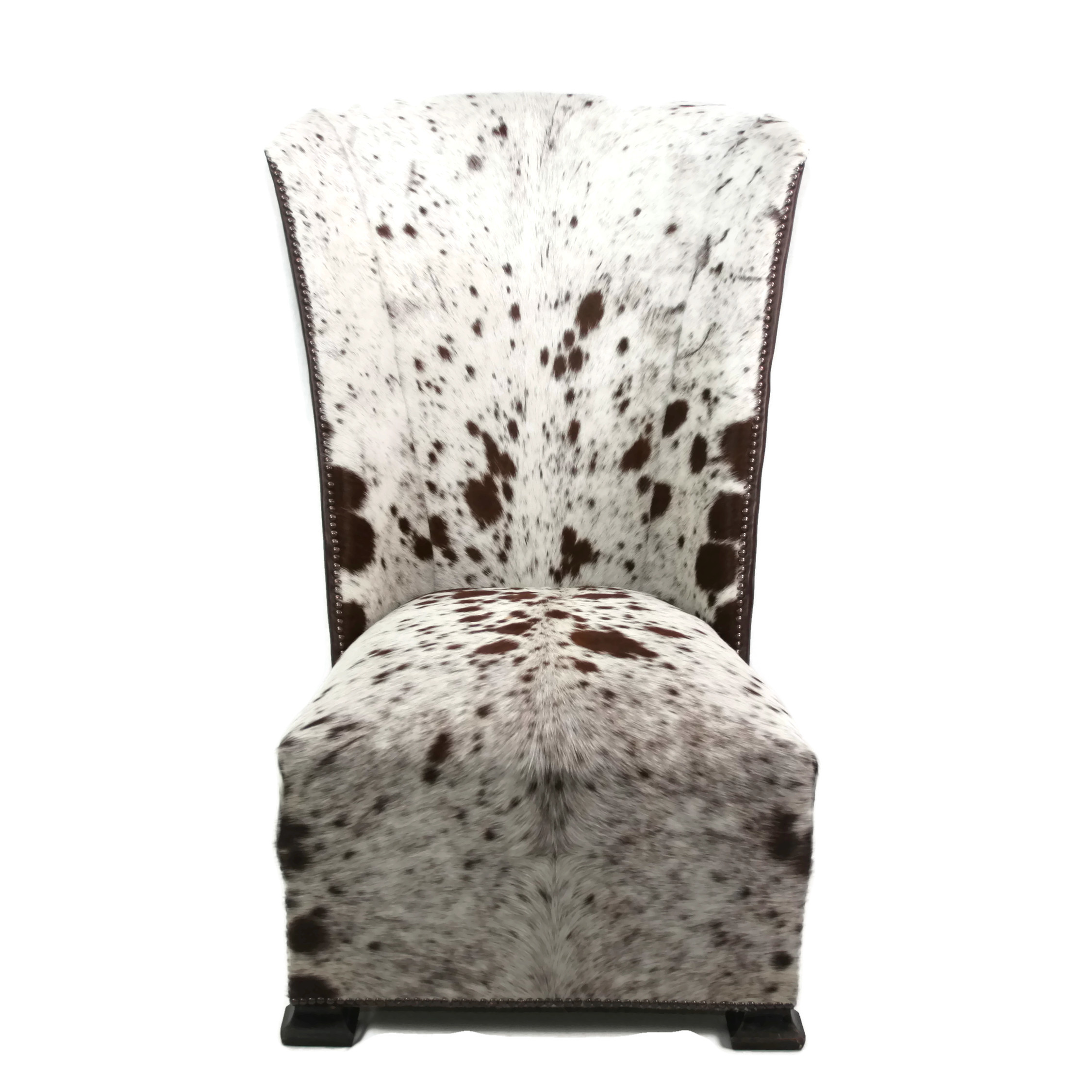 Cow Hide Chair Large Art Deco Wingback African Zulu Cow Hide