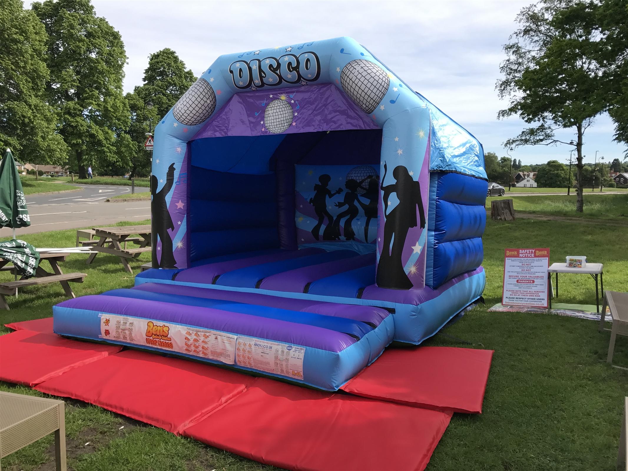 chair cover hire hemel hempstead reclining chairs and ottomans 12ft x 15ft boys disco theme bouncy castle