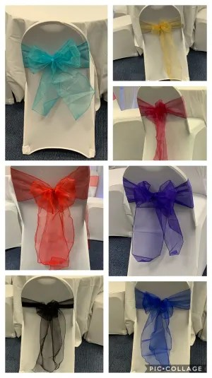 chair cover hire manchester uk banquet hall chairs covers wedding bouncy castle 100 x white organza sash