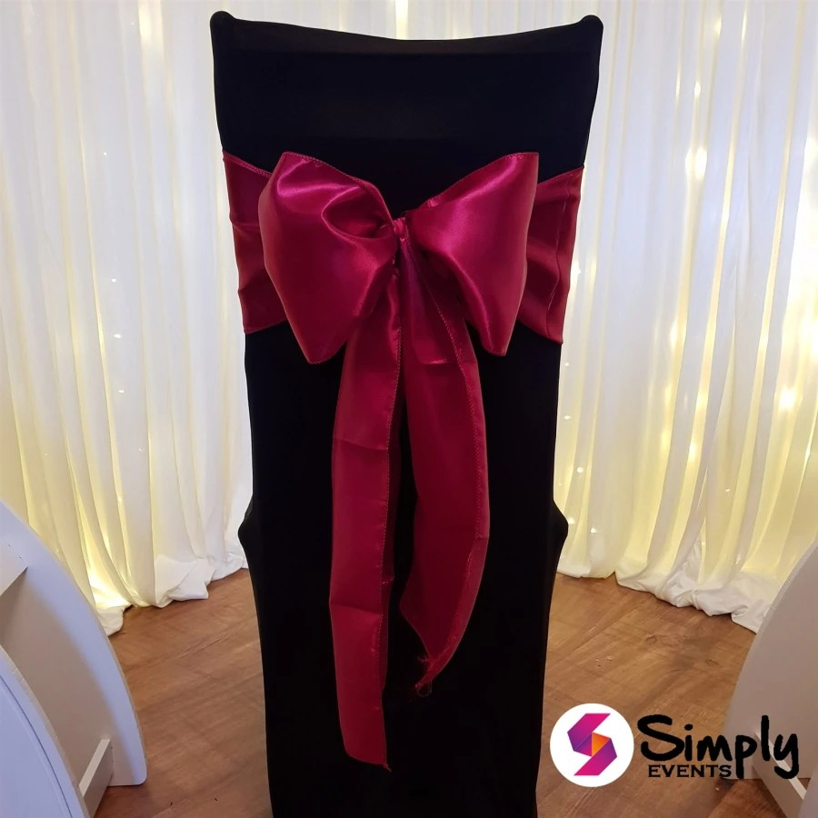 burgundy chair covers wedding how to make a queen throne black cover with satin bow bouncy castles