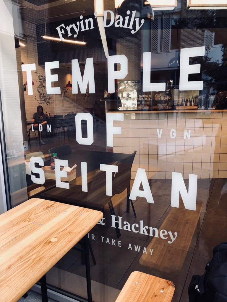 Temple of Seitan window | vegan junk food | vegan