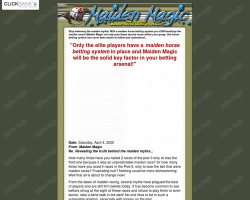 Horse Betting System For Maidens