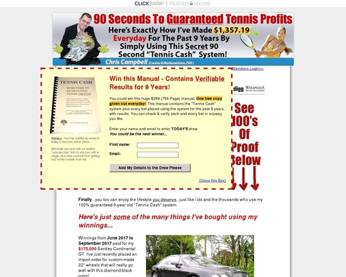 90 second tennis cash system makes $1,357.19 daily for past 9 years