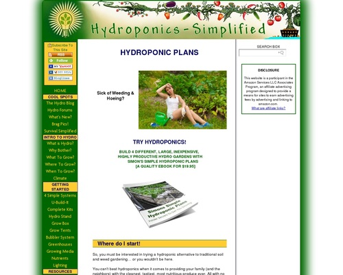 HYDROPONIC PLANS- DO IT RIGHT THE FIRST TIME - Hydroponics Gardening Simplified