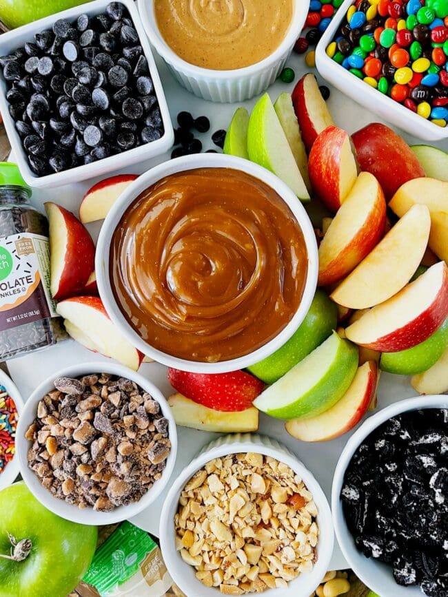 caramel apple board with toppings