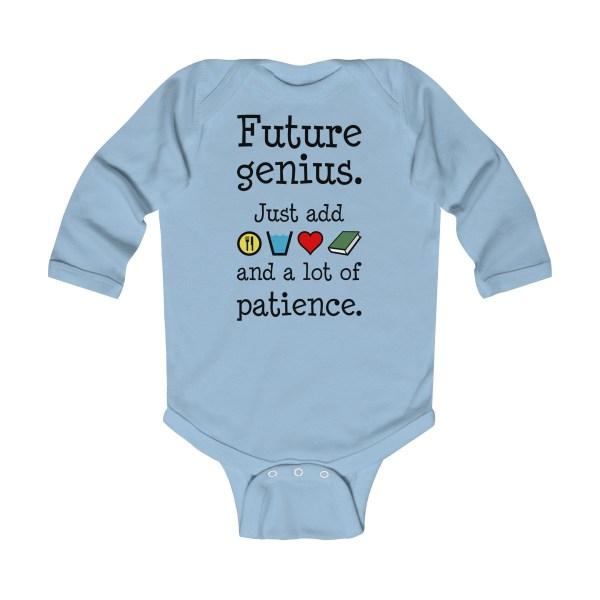Future genius long-sleeved infant onesie - light blue