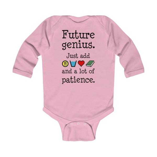 Future genius long-sleeved infant onesie - light pink