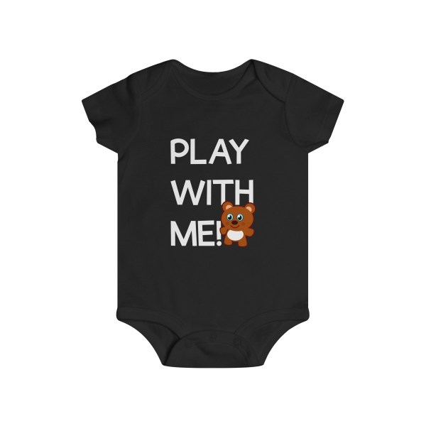 Play with me explorer (parental guidance required) infant onesie bear edition - front - black