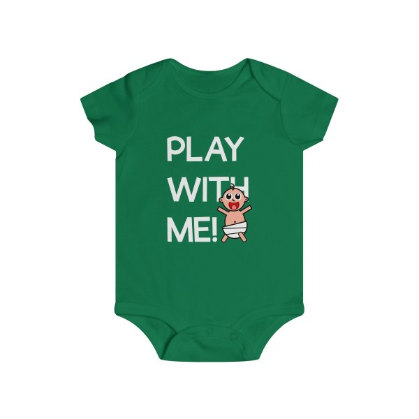 Play with me explorer (parental guidance required) infant onesie - front - green