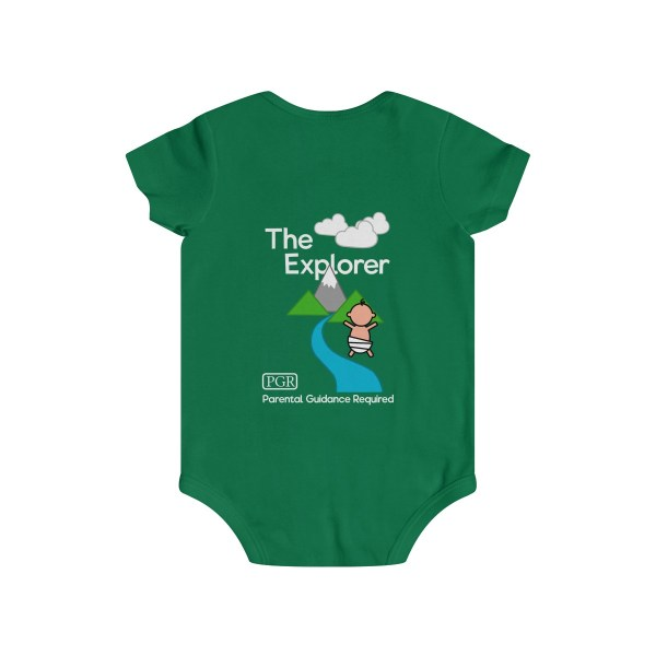Play with me explorer (parental guidance required) infant onesie - back - green
