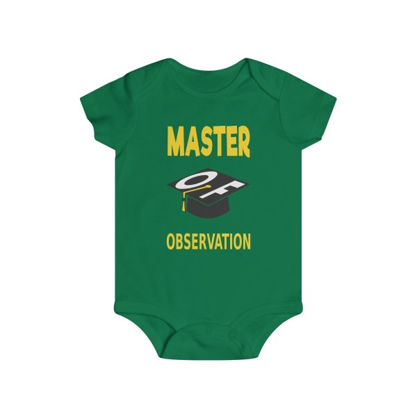 Master of observation baby see baby do infant onesie - front - green