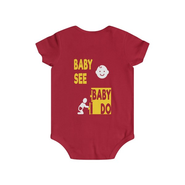 Master of observation baby see baby do infant onesie - back - red