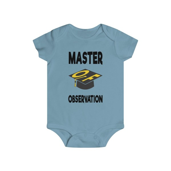 Master of observation baby see baby do infant onesie - front - light blue