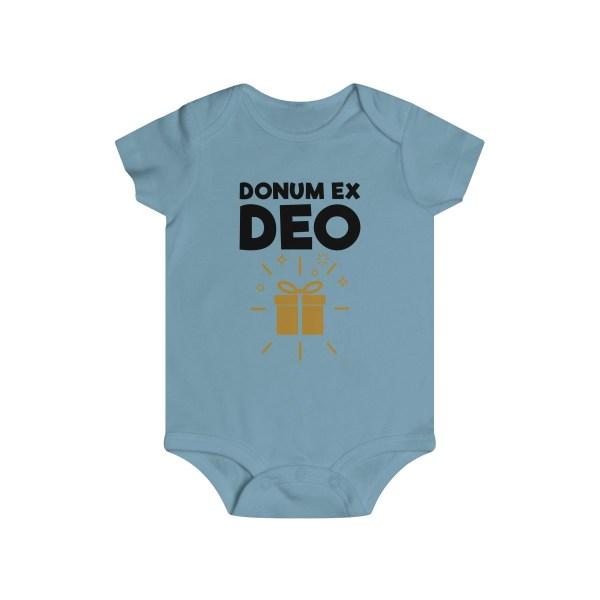 Donum ex Deo (gift from God) infant onesie - light blue