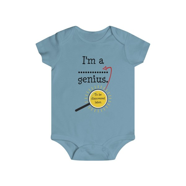 Genius to be discovered later infant onesie - light blue