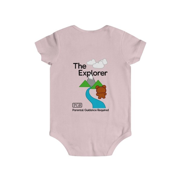 Play with me explorer (parental guidance required) infant onesie bear edition - back - light pink