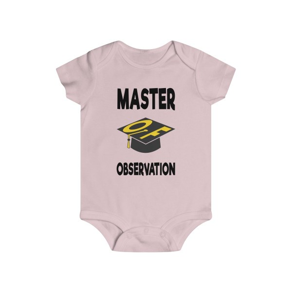 Master of observation baby see baby do infant onesie - front - light pink