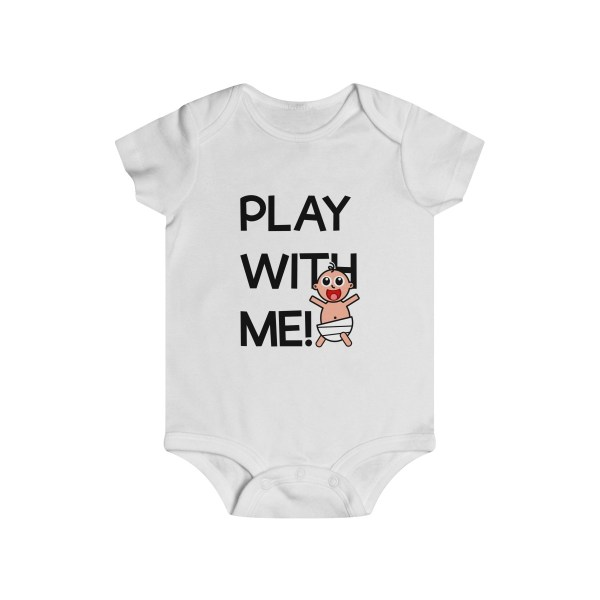 Play with me explorer (parental guidance required) infant onesie - front - white