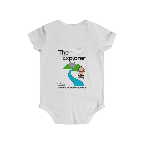 Play with me explorer (parental guidance required) infant onesie - back - white