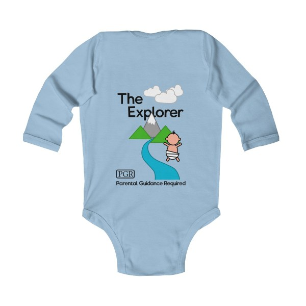 Play with me explorer (parental guidance required) long-sleeved infant onesie - back - light blue