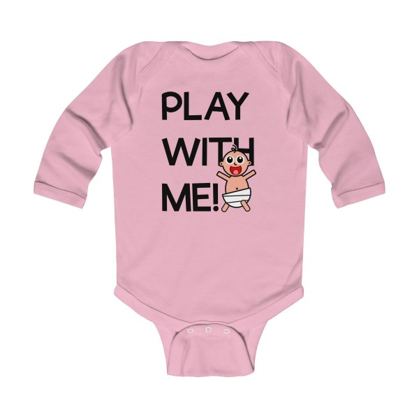 Play with me explorer (parental guidance required) long-sleeved infant onesie - front - light pink