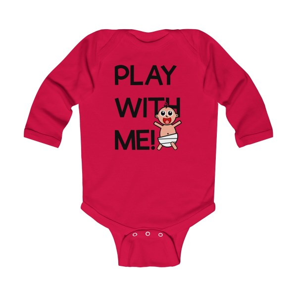 Play with me explorer (parental guidance required) long-sleeved infant onesie - front - red