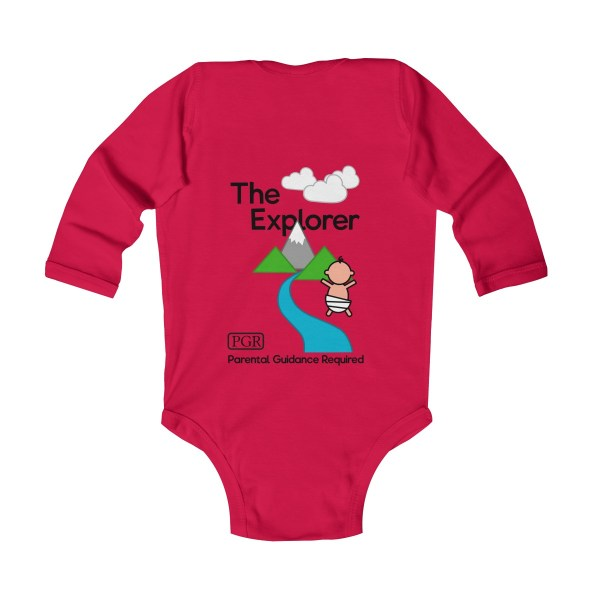 Play with me explorer (parental guidance required) long-sleeved infant onesie - back - red